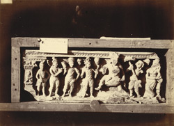 Sculpture slab representing Buddha leaving his home, from Mian Khan Tope at Mala Tangi, Peshawar District